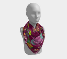 "Scarf - ""Flowers and Tigers and Bubbly! Oh My!"" in Plum"