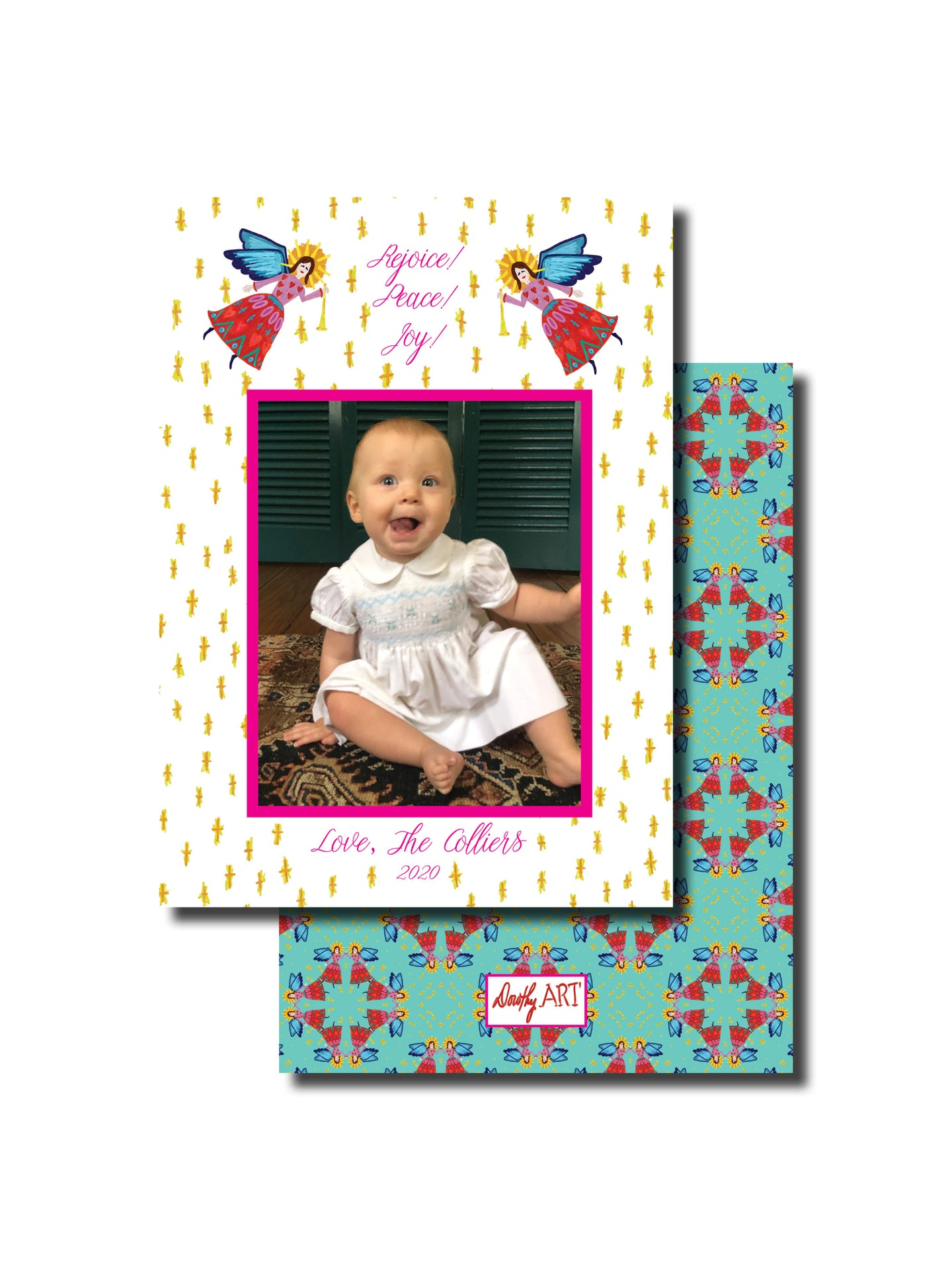 angel bright holiday card