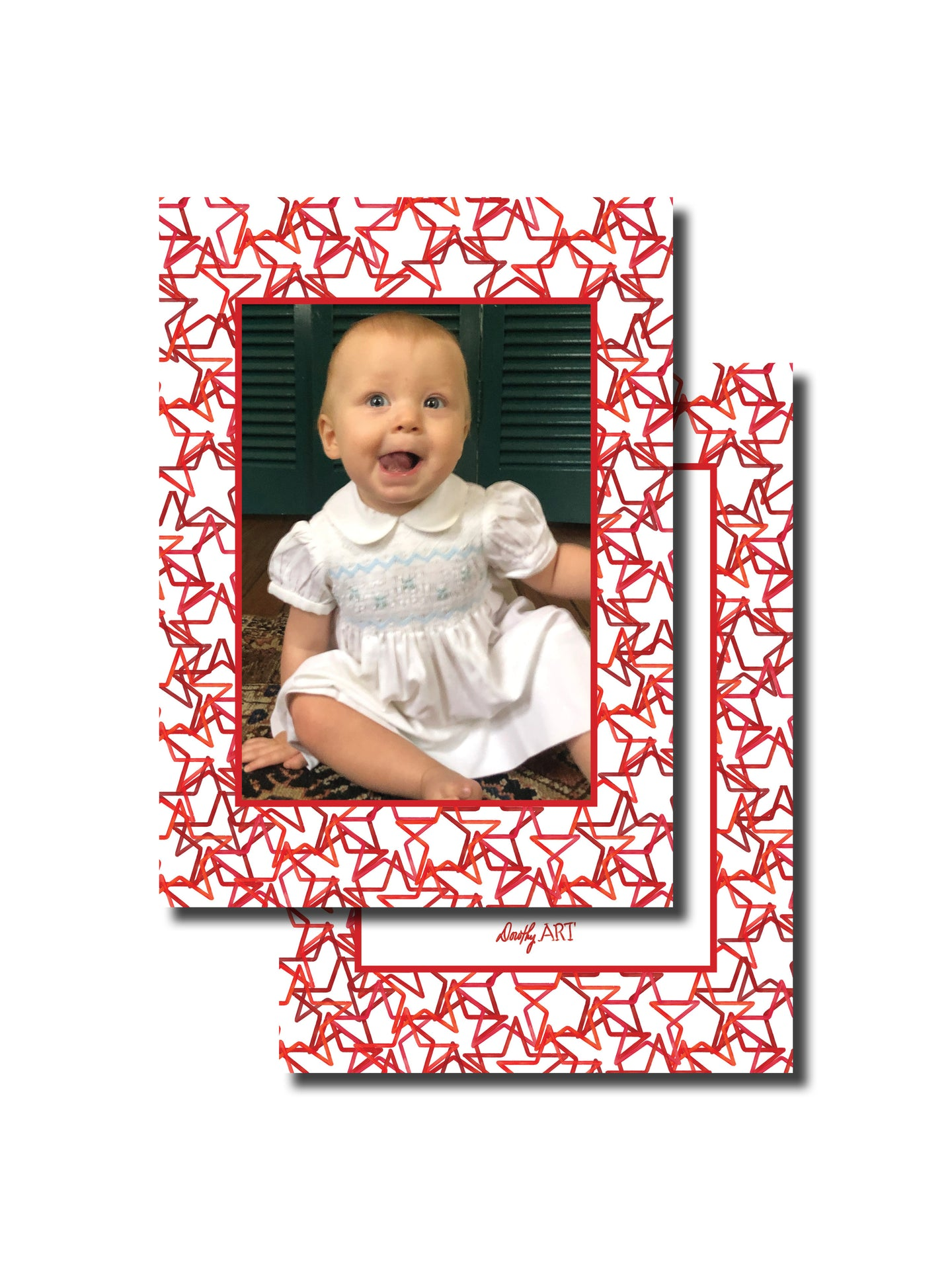 star in red holiday card