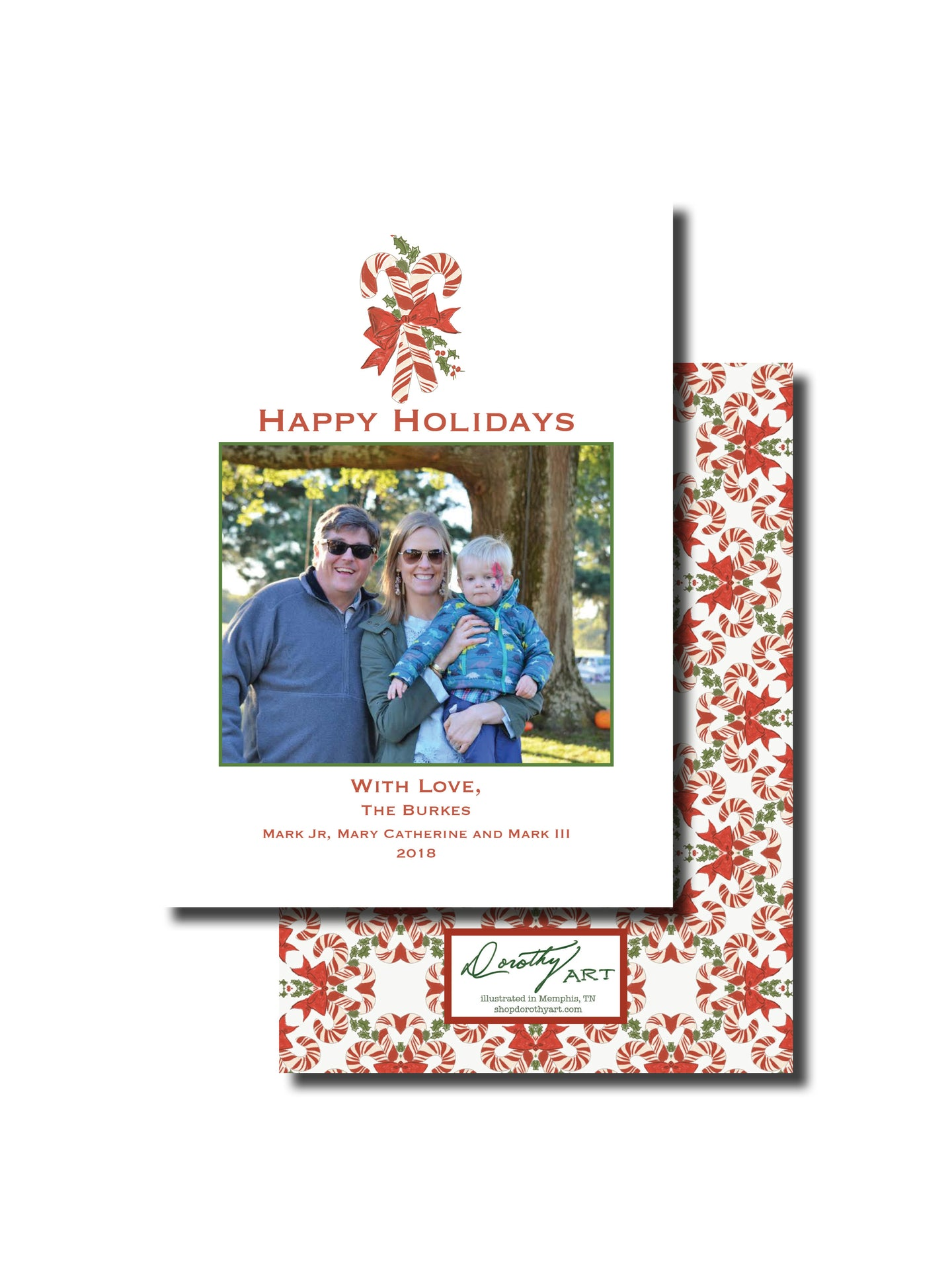 candy cane holiday card vertical