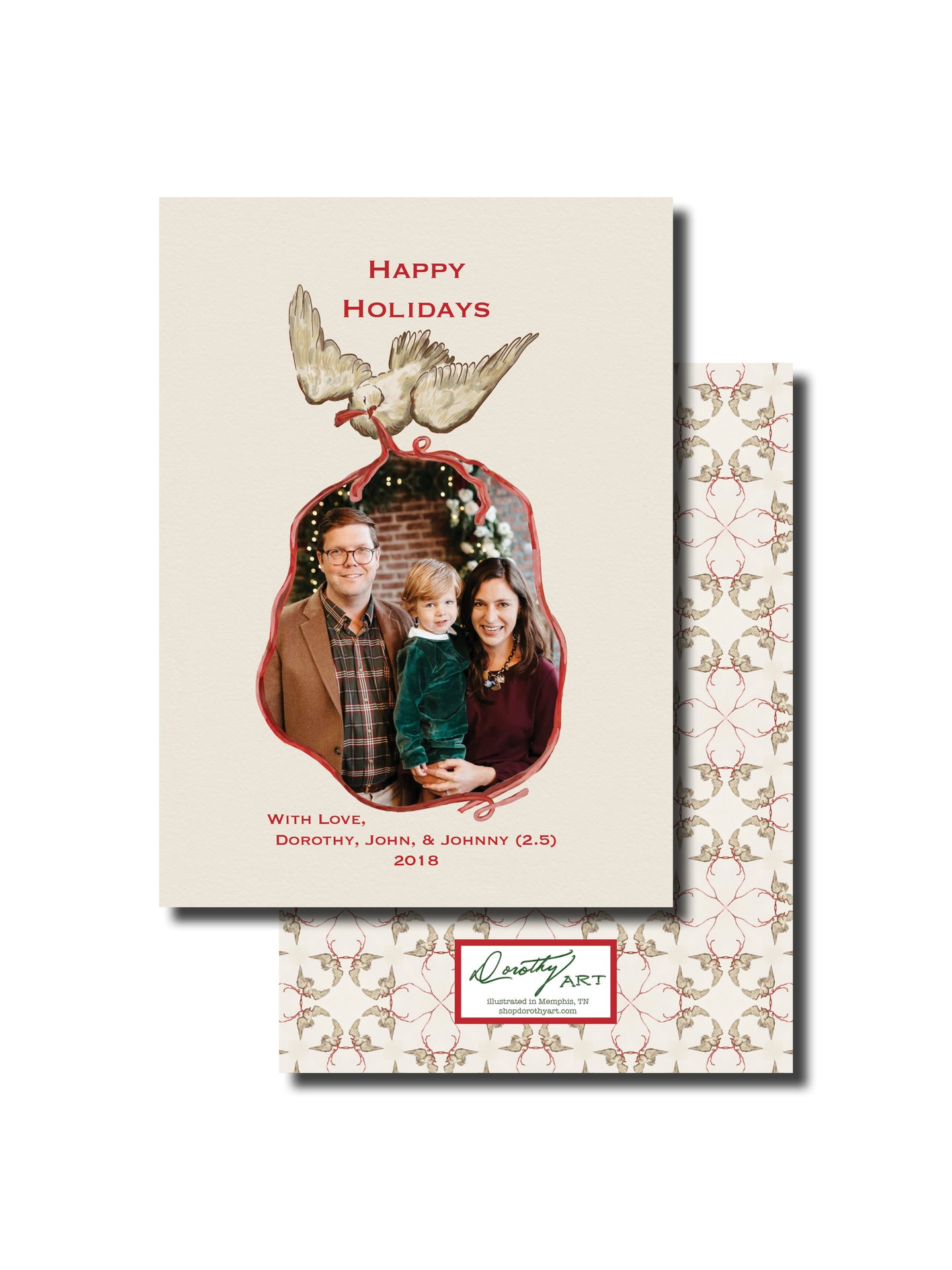 dove red holiday card