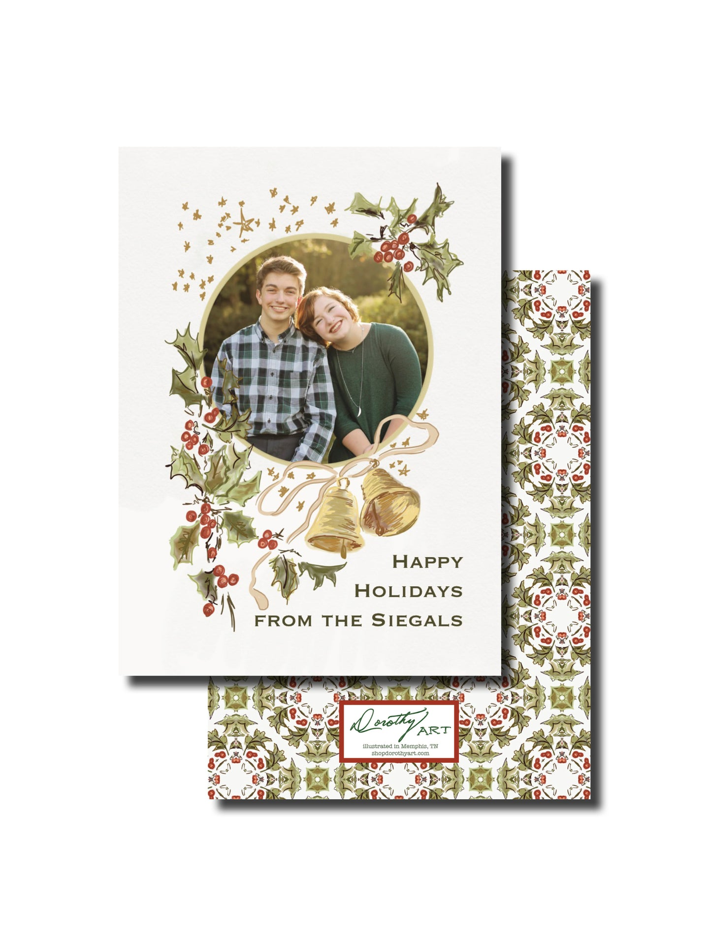 holly and bells holiday card