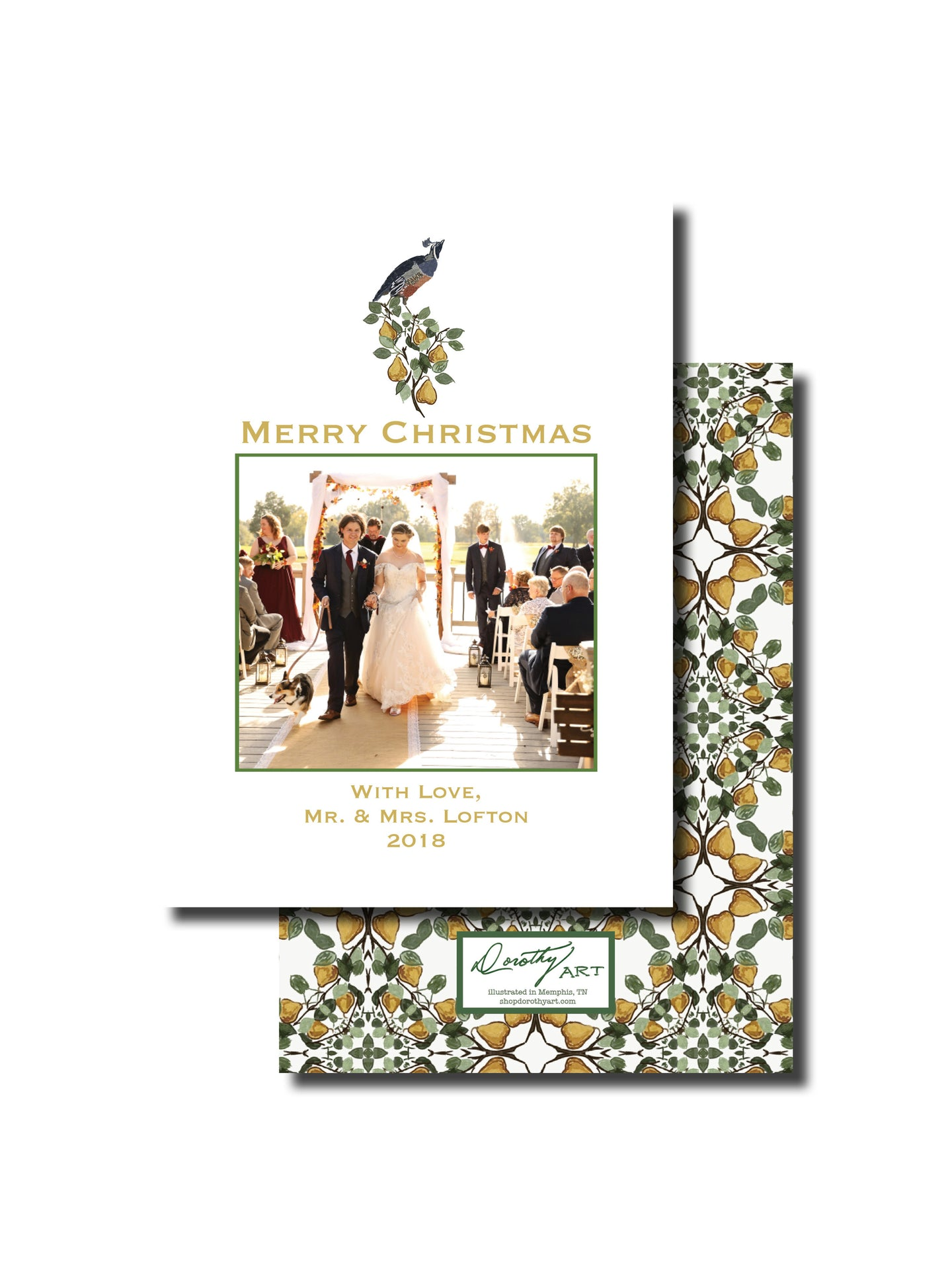 partridge and pear holiday card
