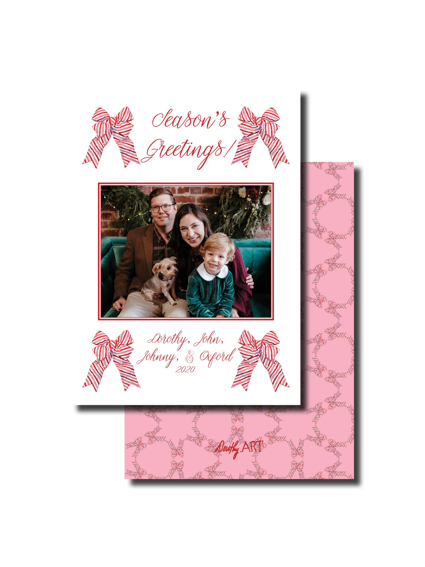 bow striped holiday card