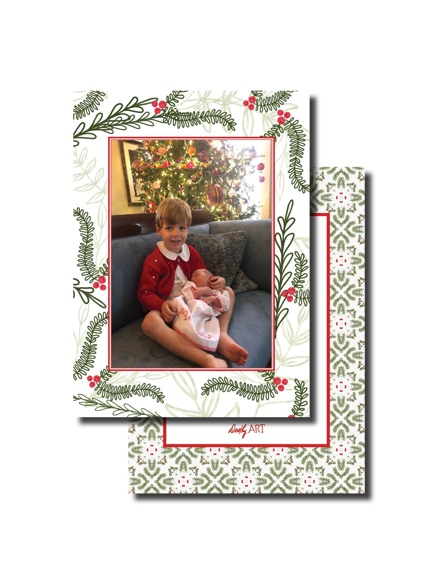 holly border pattern white holiday card