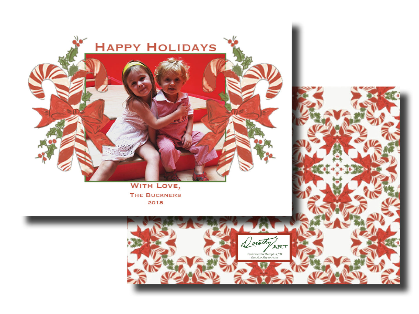 candy cane holiday card horizontal