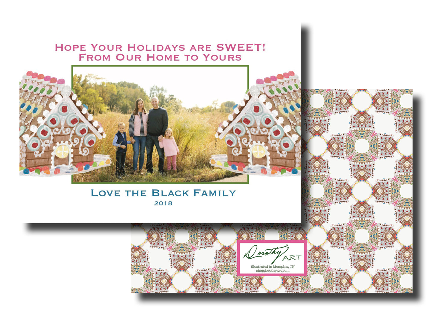 gingerbread candy house holiday card horizontal