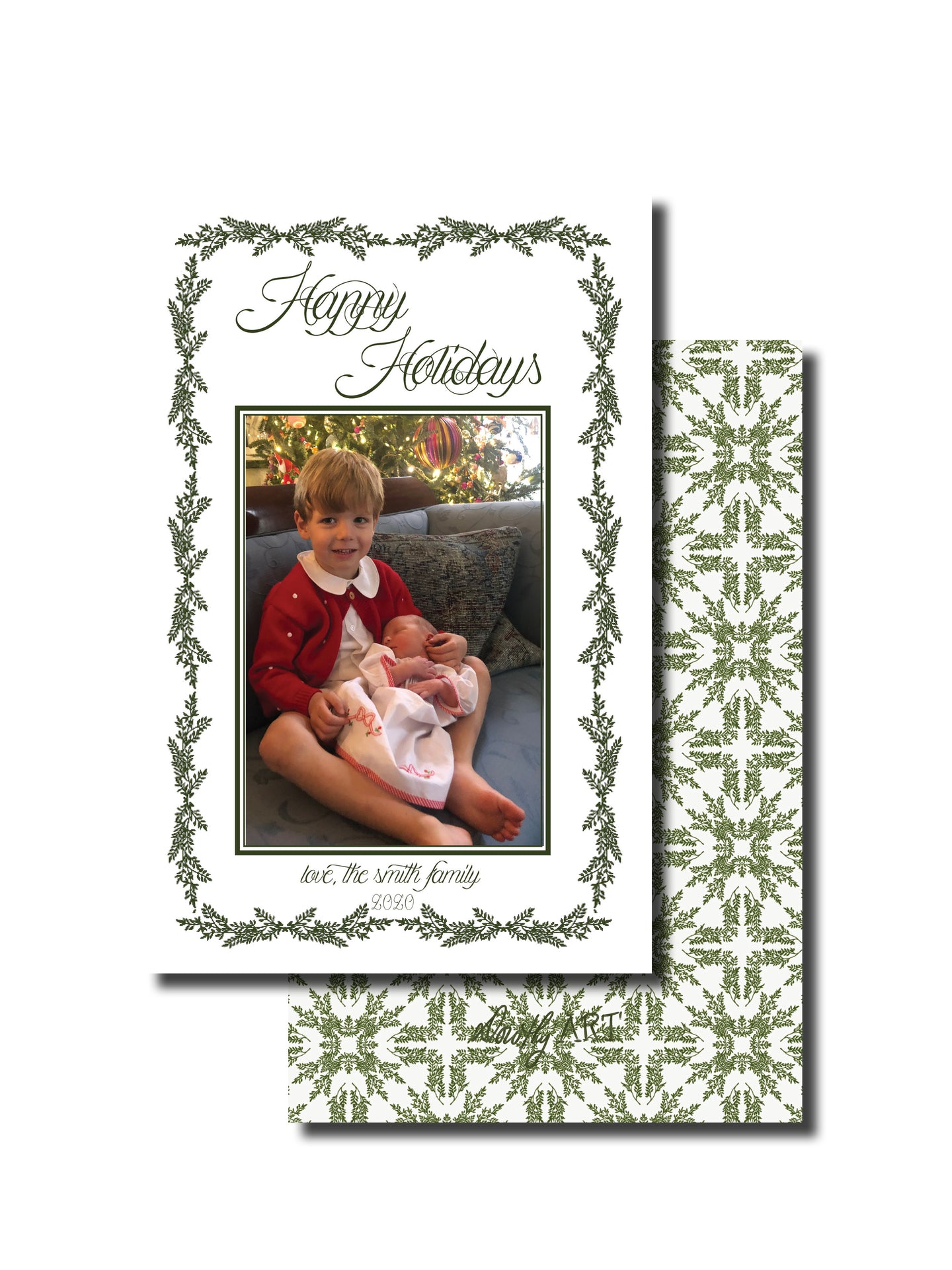 fern in green holiday card