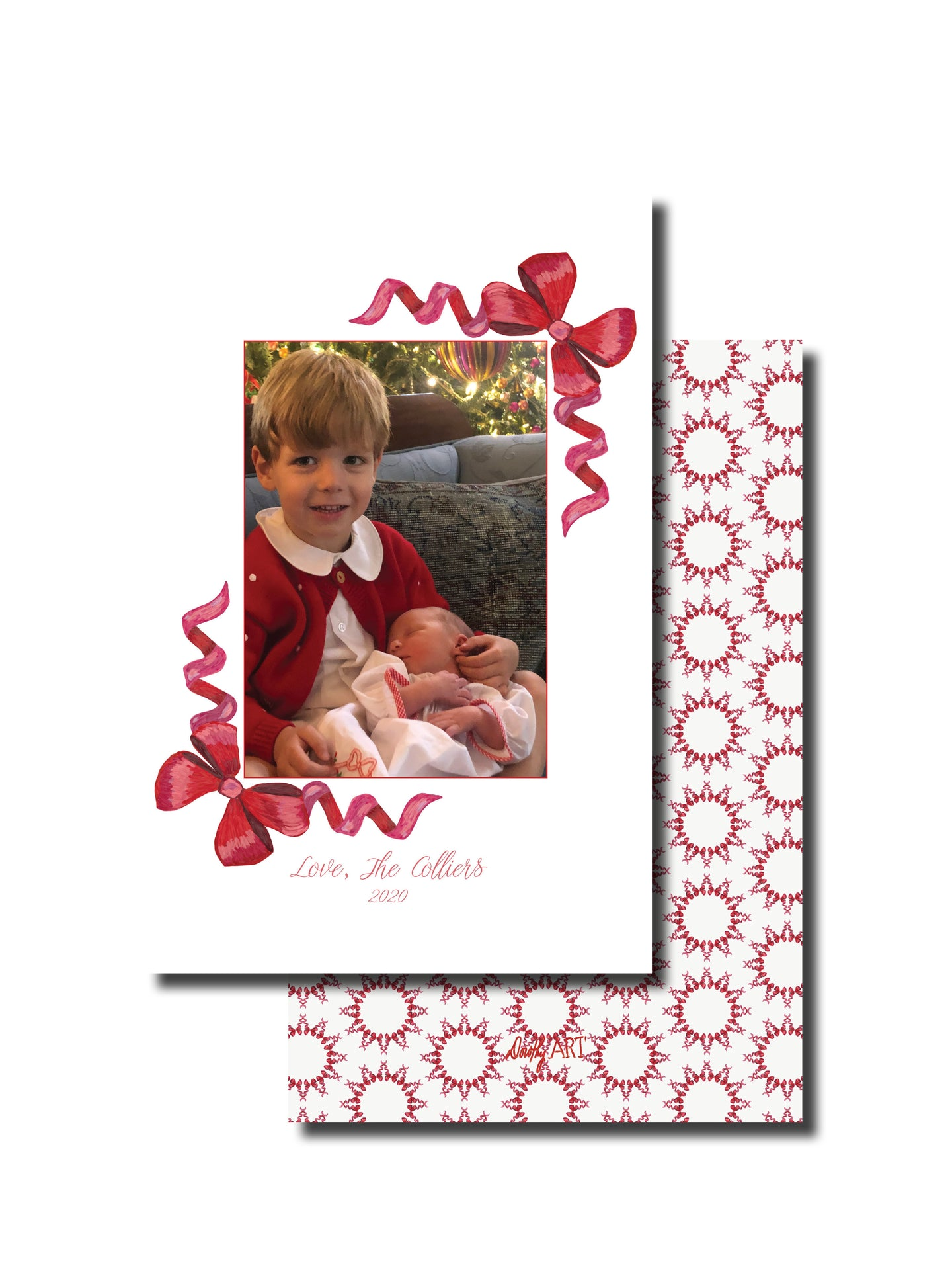 bow border holiday card