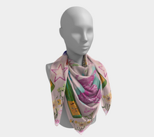 "Scarf - ""Flowers and Tigers and Bubbly! Oh My!"" in Light Pink"