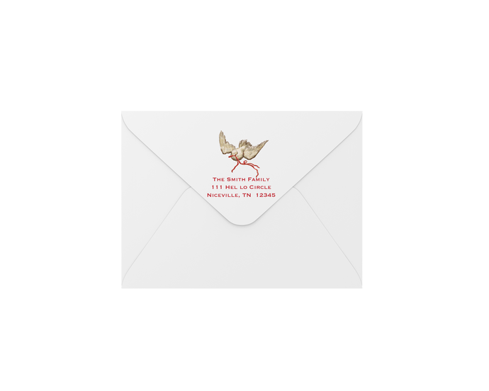 dove red envelopes - address printing