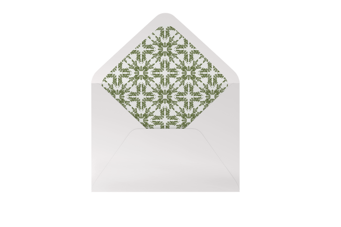 fern in green envelope liner