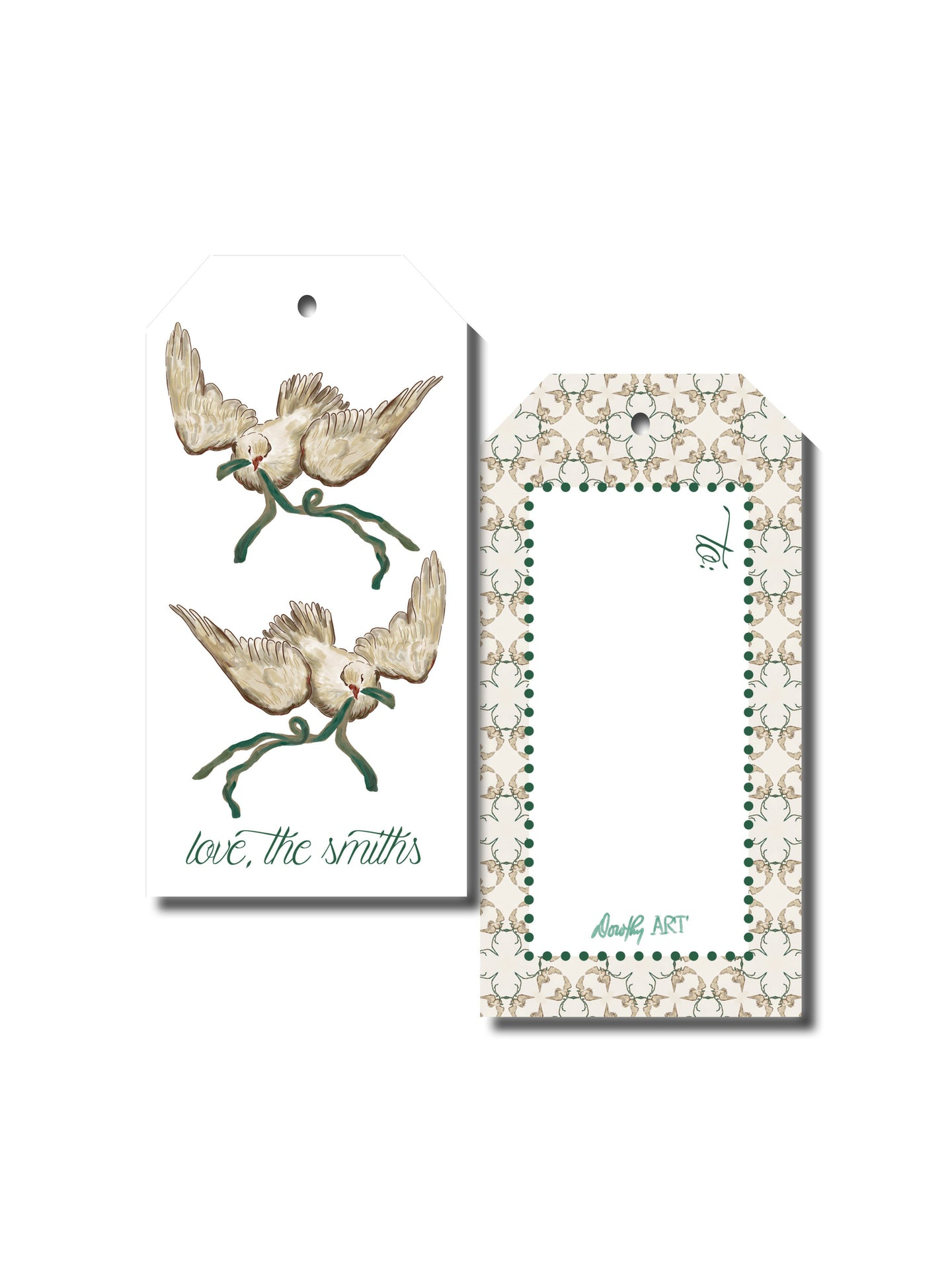 dove green gift tag