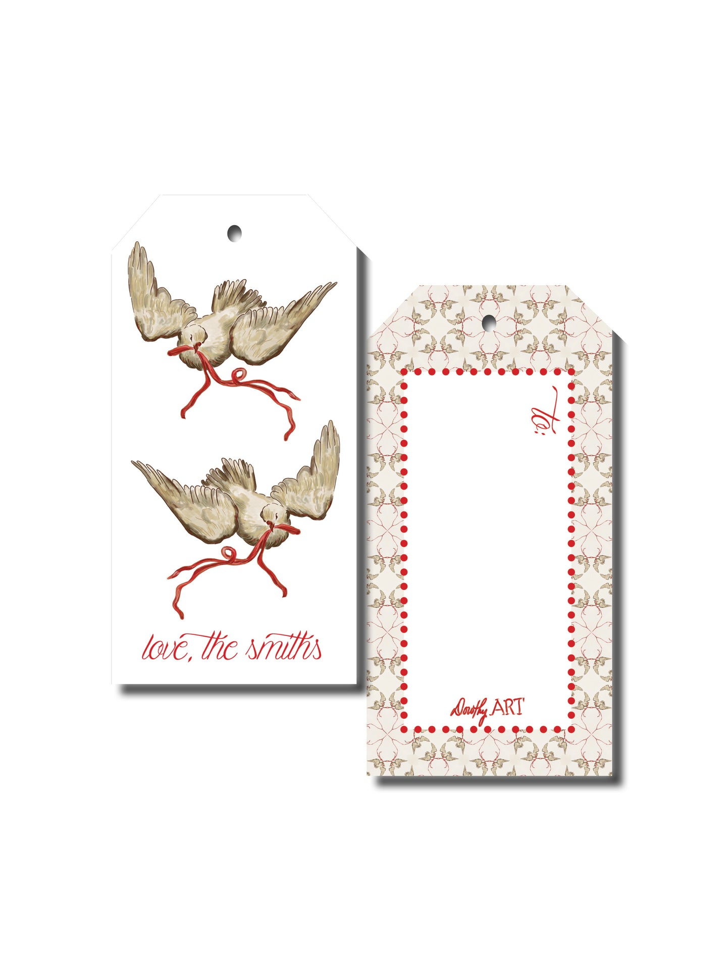dove red gift tag