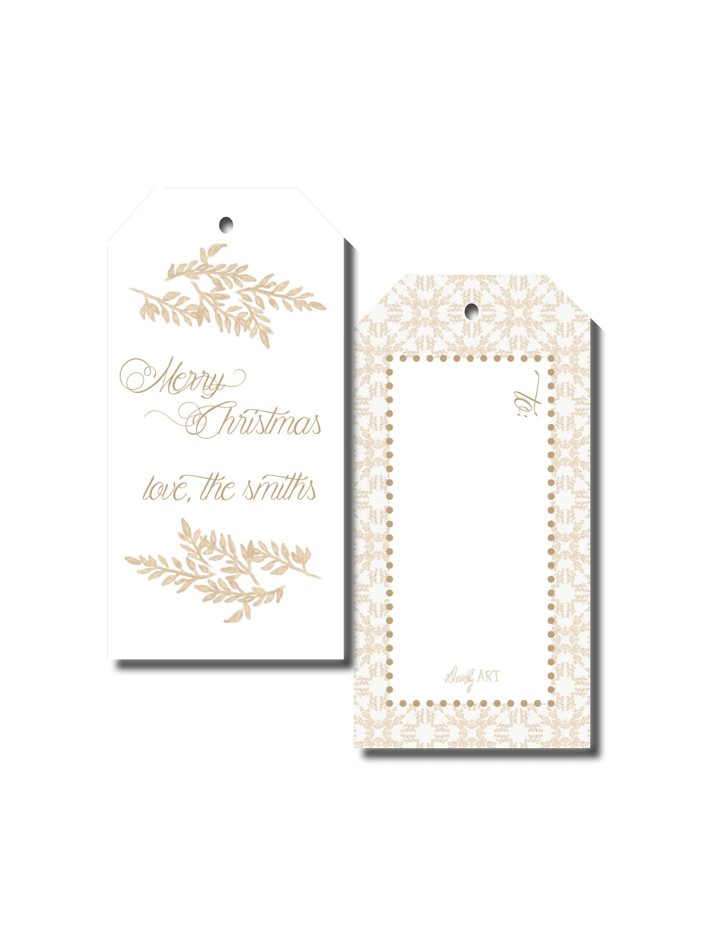 fern in creme gift tag