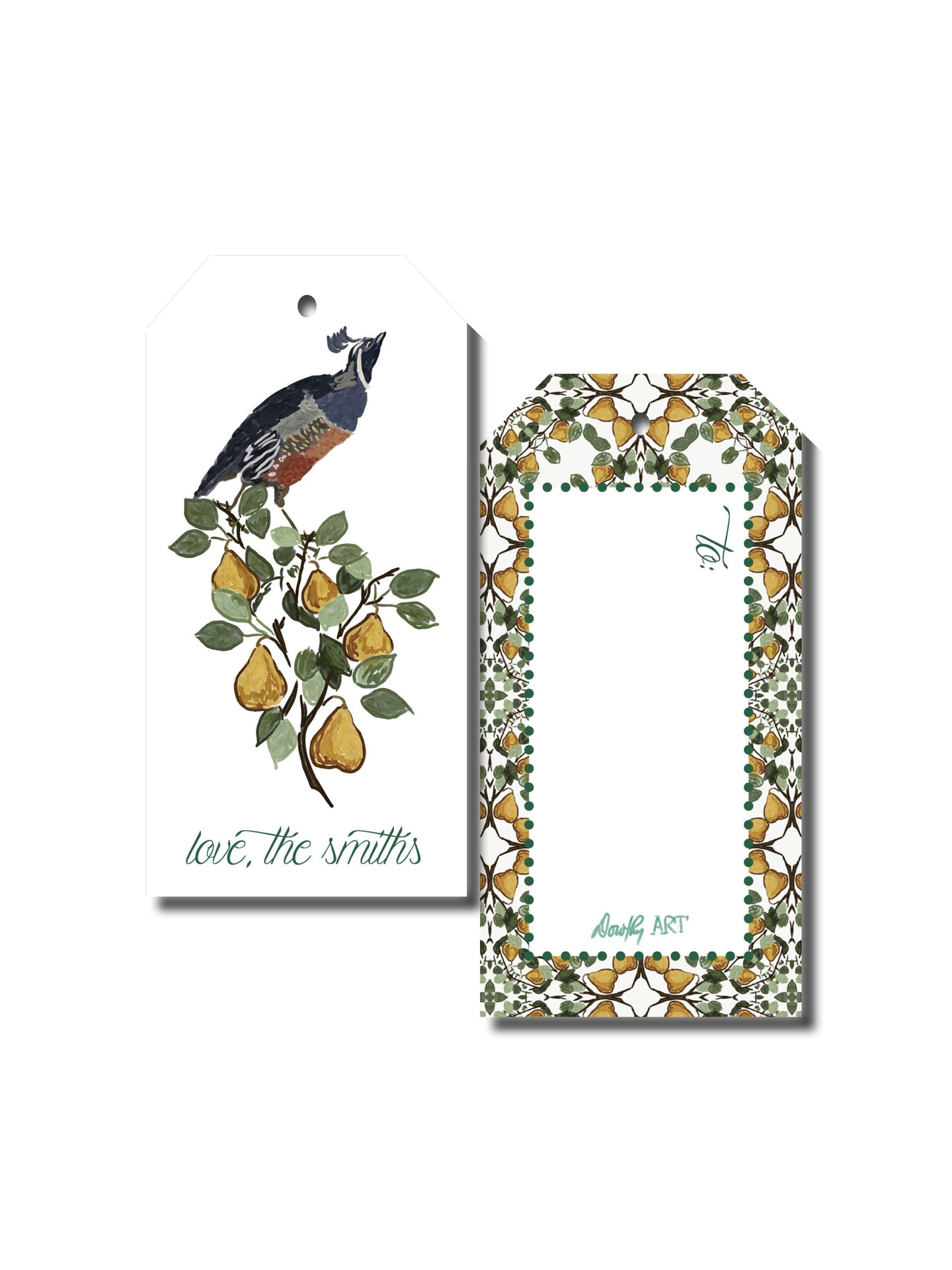 partridge in a pear tree gift tag