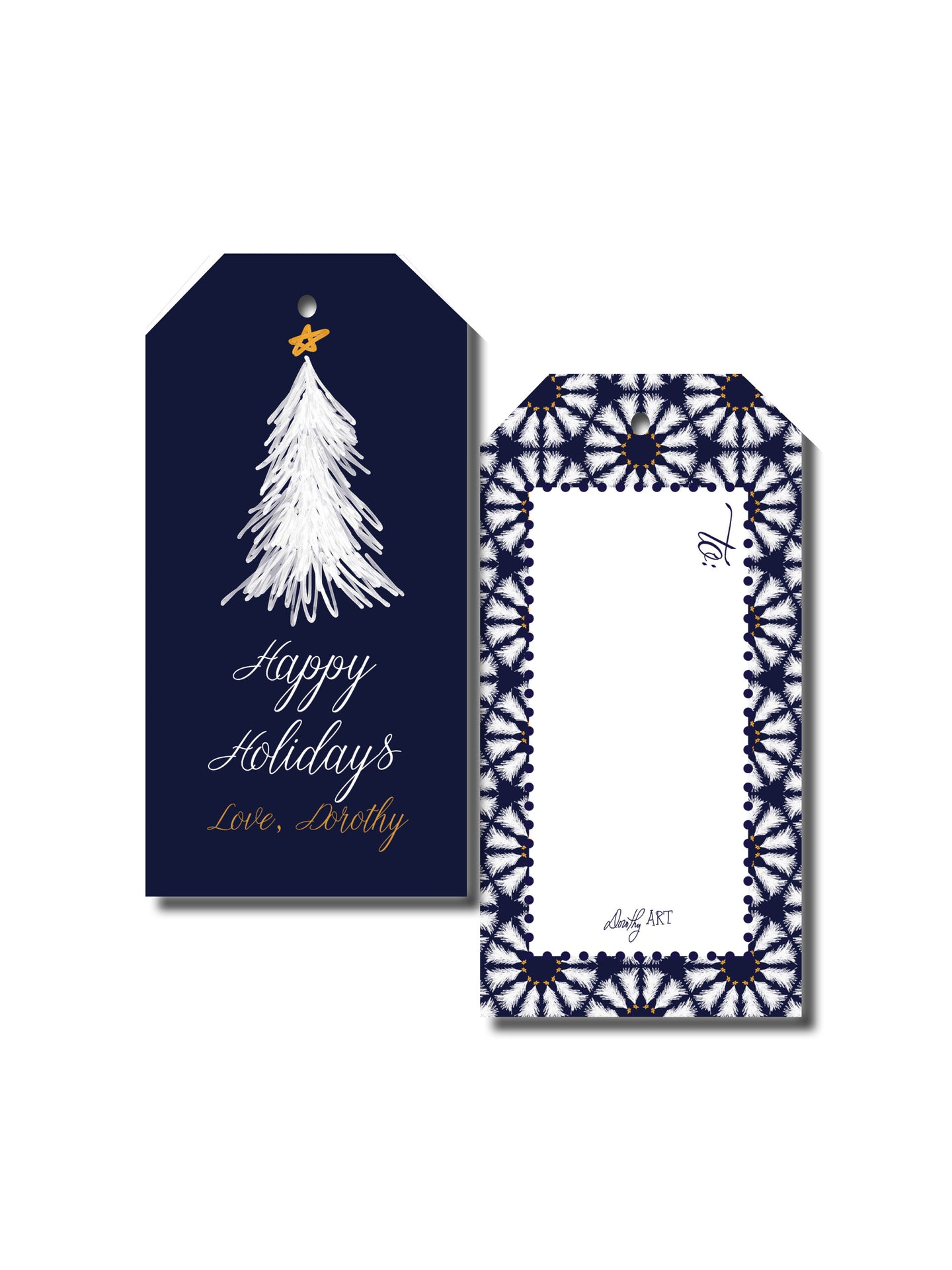 tree in white gift tag