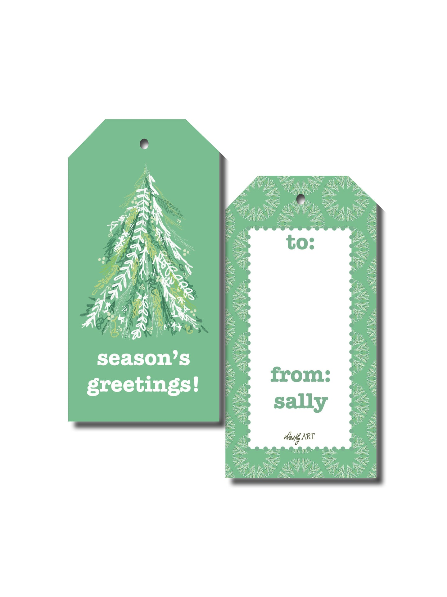 tree sketch gift tag