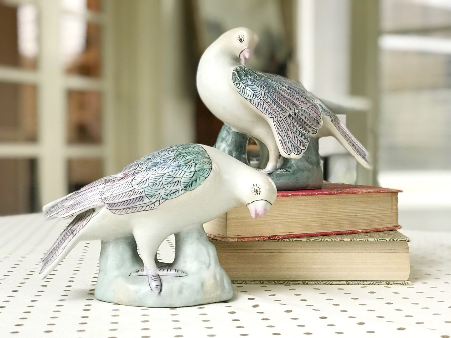 Chinoiserie Bird Sculpture Pair - Dorothy Art