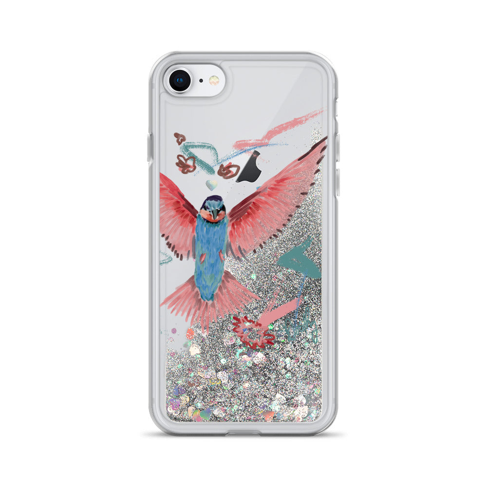 Bird Blue and Pink Flying - Liquid Glitter Phone Case