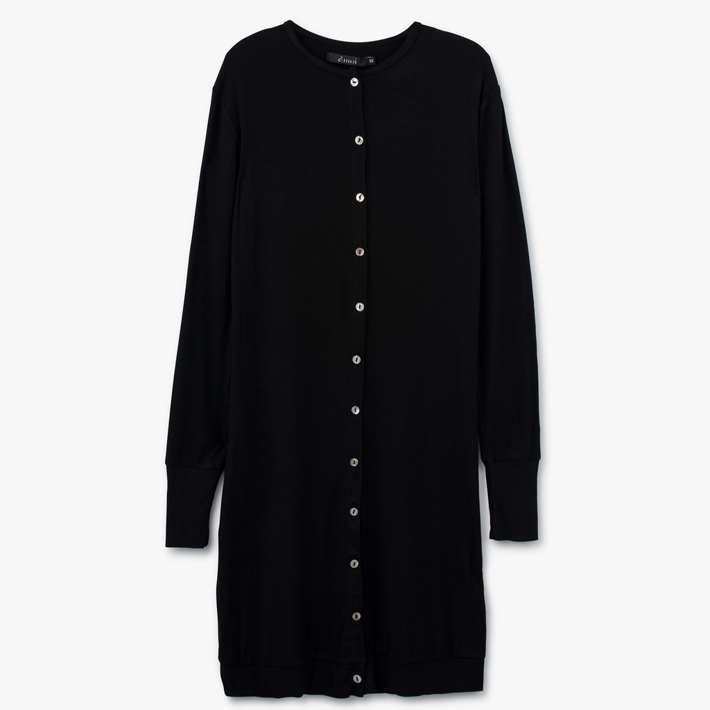 Long Ribbed Cardigan |Black