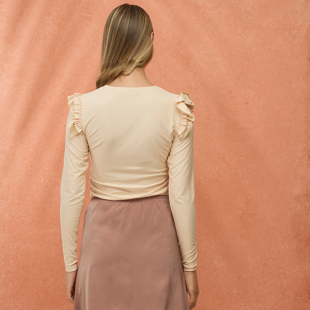 Pleated Shoulder Tee | Light Pink