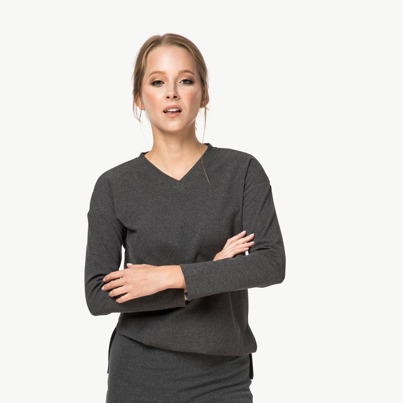 V-Neck Sweater |Charcoal