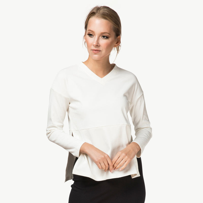 V-Neck Sweater | White