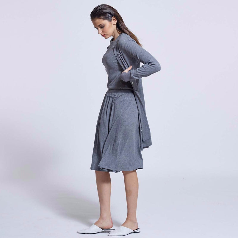 Long Ribbed Cardigan |Grey