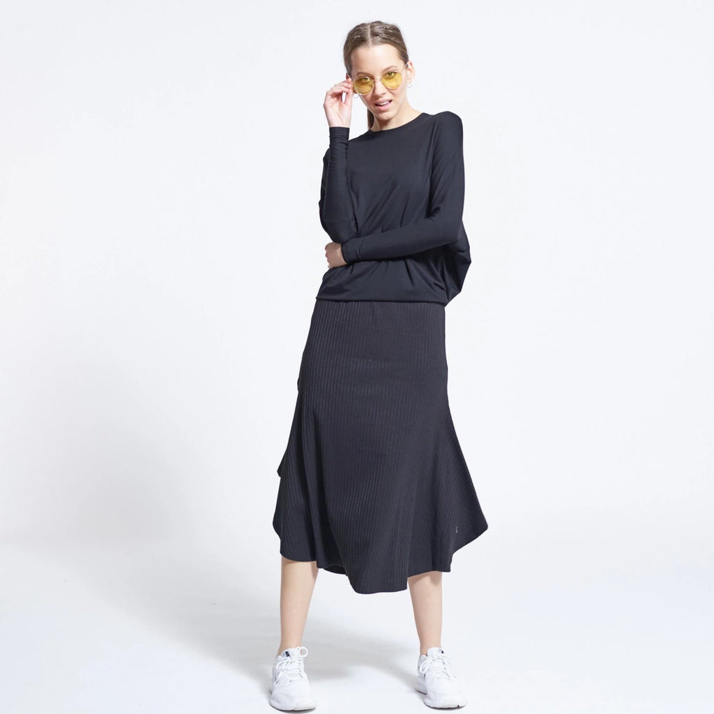 Ribbed Wing skirt | Black