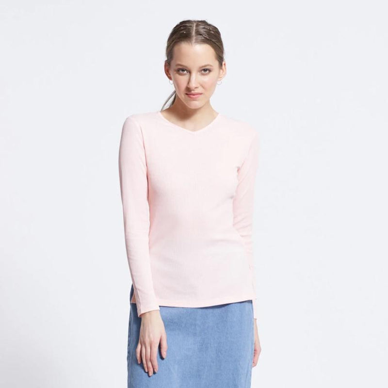 Ribbed V-Neck Tee | Light Pink