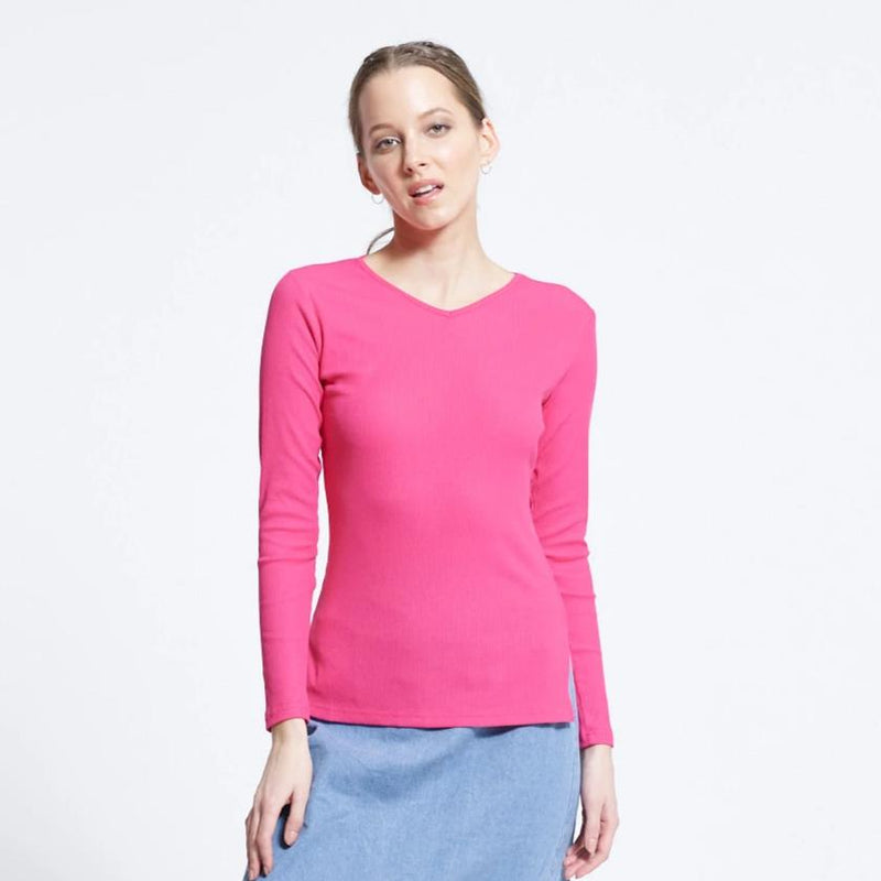 Ribbed V-Neck Tee | Highlighter Pink
