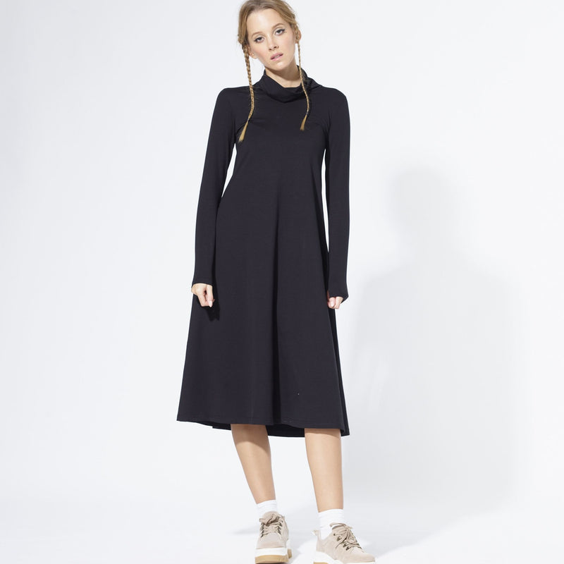 Roll Neck Dress | Black