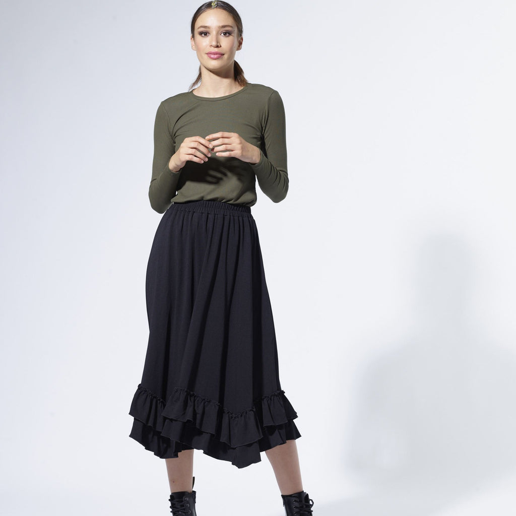 Double ruffled skirt| Black