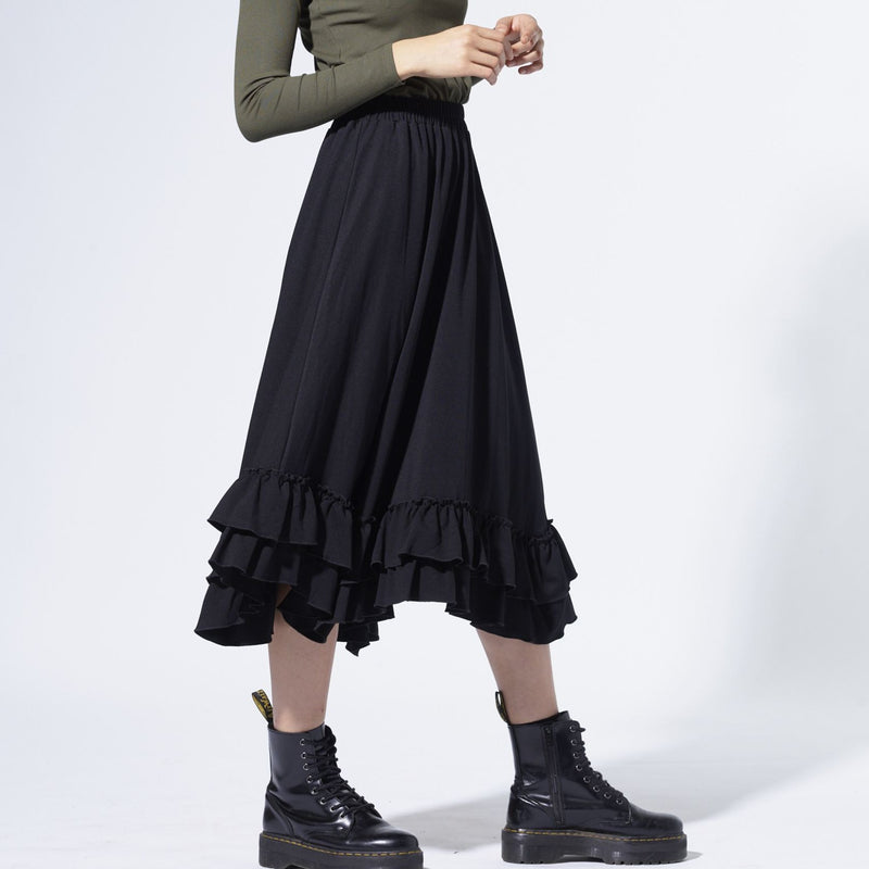 Double ruffled skirt| Black [Final Sale]