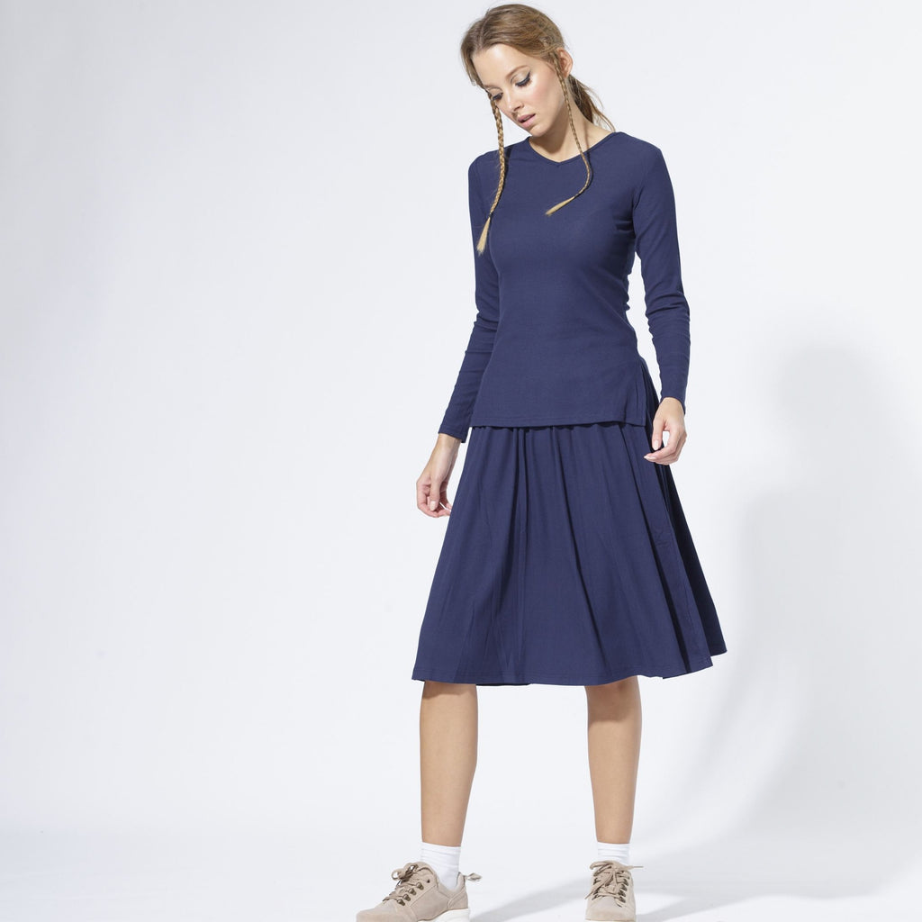 Twirl Ribbed Skirt | Navy