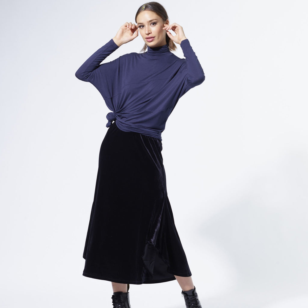 Ribbed Velvet Wing skirt | Black [Final Sale]