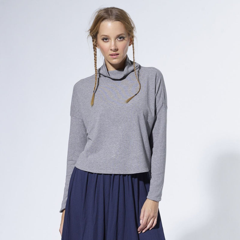 Cropped Turtleneck | Grey