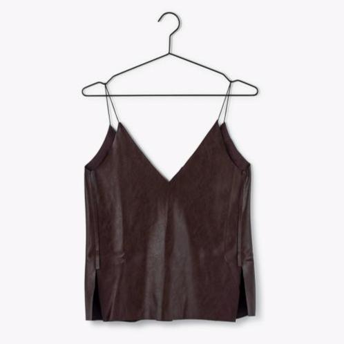 Leather Cami |Brown [Final Sale]