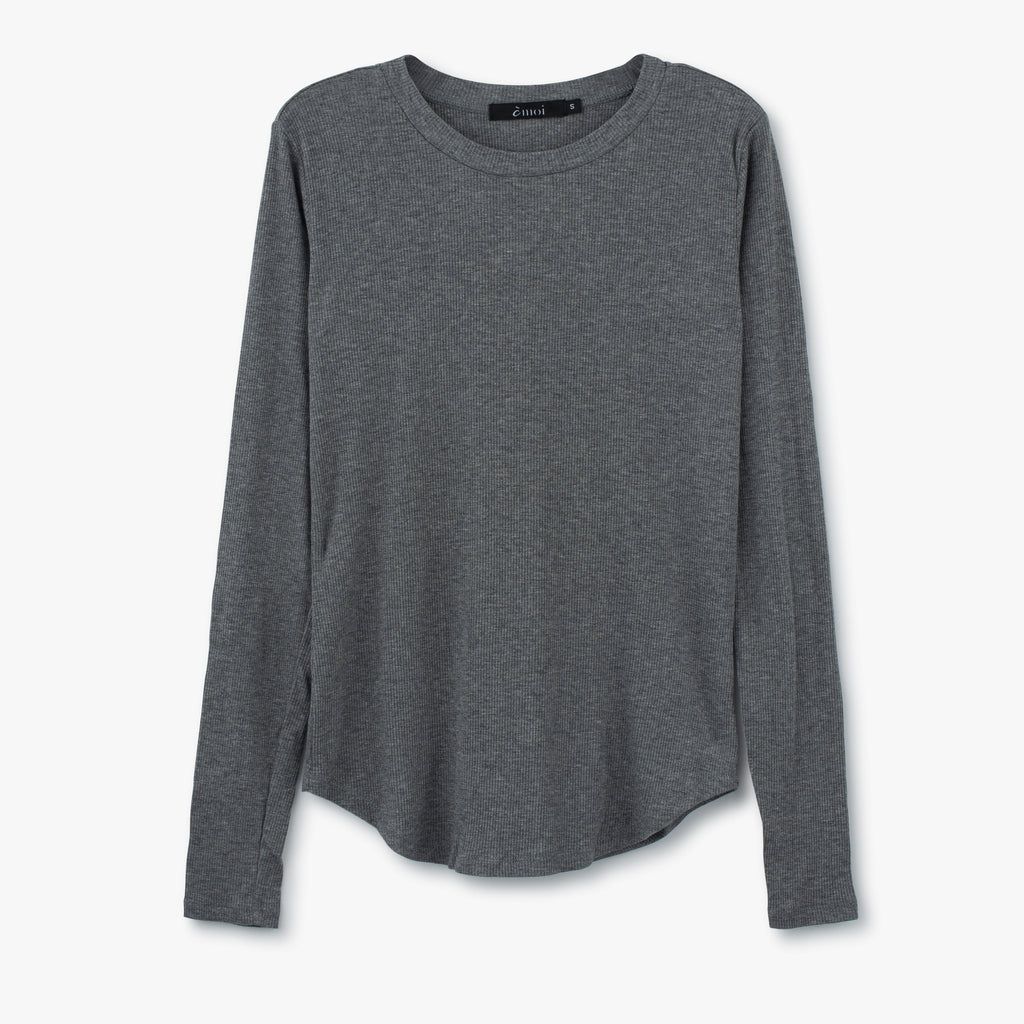 Ribbed Crewneck Tee |Grey