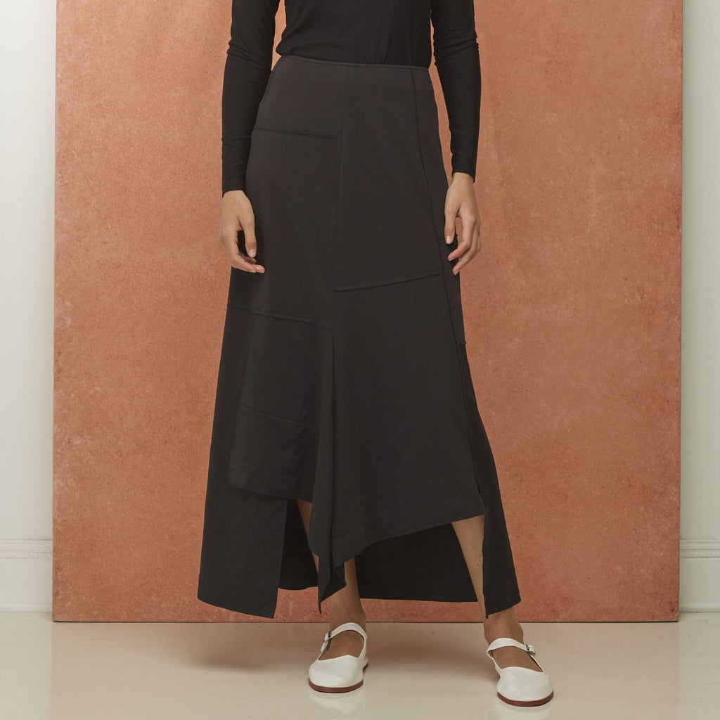 Paneled Black Maxi Skirt
