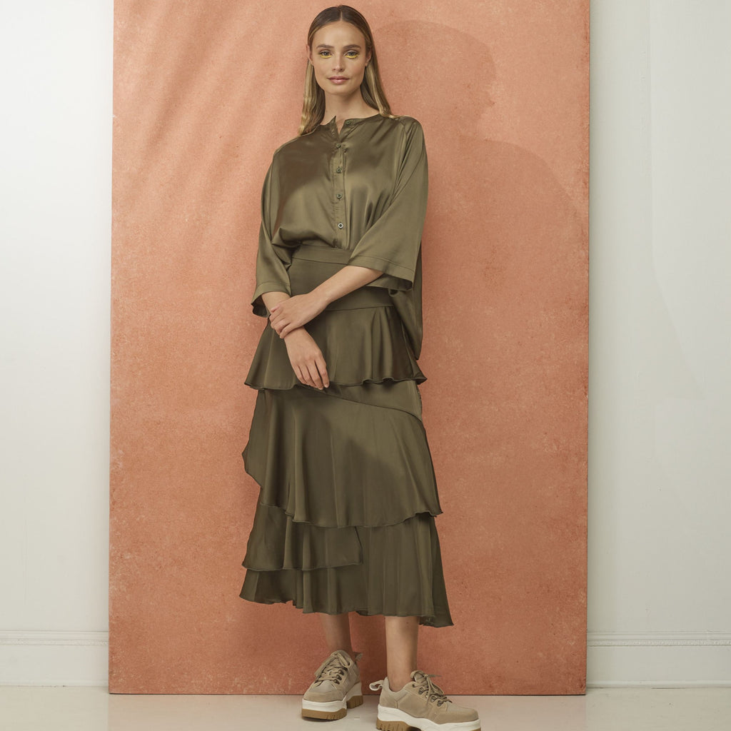 Ruffled Tier Skirt | Olive Green