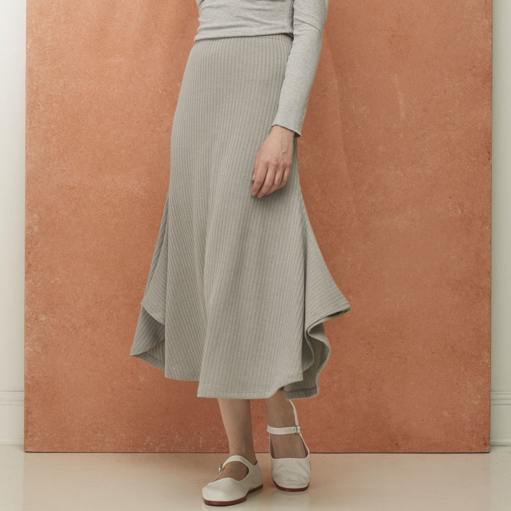 Ribbed Wing Skirt | Grey