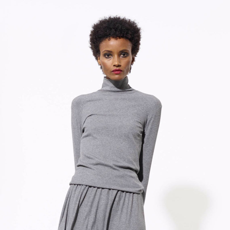 Ribbed Turtleneck | Charcoal