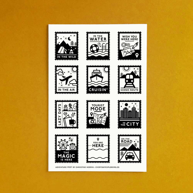 Adventure Post - 4x6 Clear Stamp Set