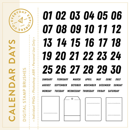 Calendar Days - Digital Stamp Set