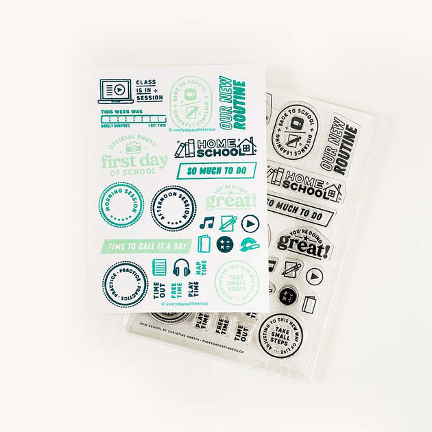 New School - 4x6 Clear Stamp Set