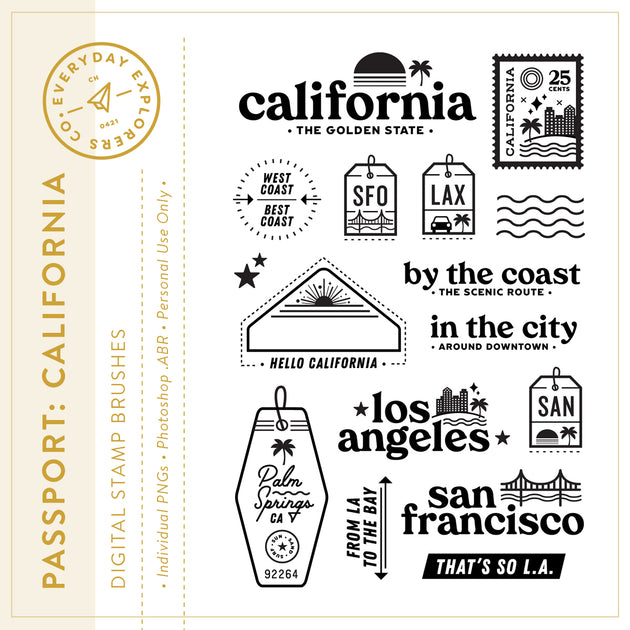 Passport: California - Digital Stamp Set