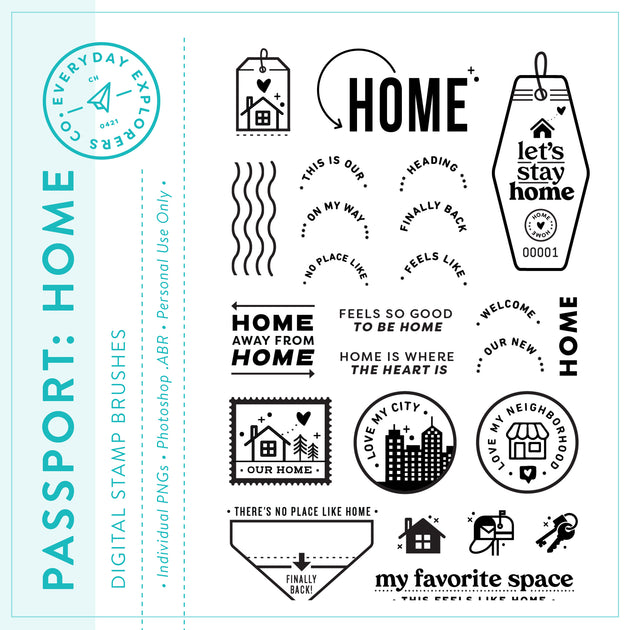 Passport: Home - Digital Stamp Set