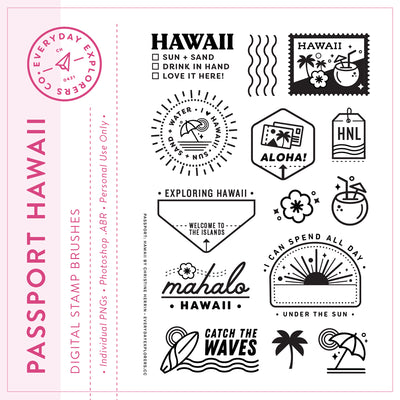 Passport: Hawaii - Digital Stamp Set